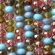 3x5mm Turquoise/Topaz/Pink Mixed Faceted Rondelle Beads [100]