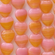 10mm Pink/Orange Flat Heart Beads [50]