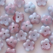 3x8mm Light Blue/Raspberry Matte Flower Beads [50]