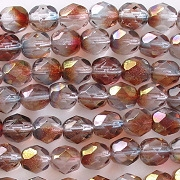 6mm Clear/Fuchsia/Gold Faceted Round Beads [50]