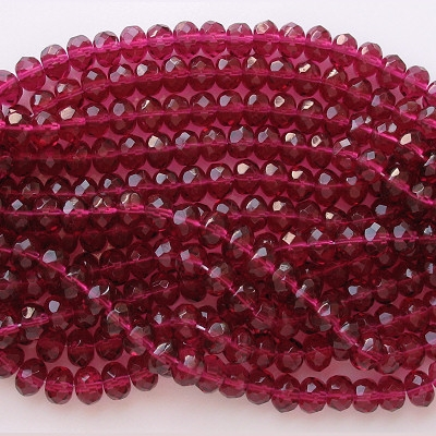 5x7mm Fuchsia Faceted Rondelle Beads [50]