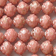 7x8mm Opaque Pink/Gold Luster Rosebud Faceted Beads [15]