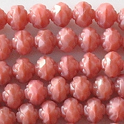 5x6mm Coral Pink Rosebud Faceted Beads [50]