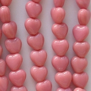 6mm Opaque Pink Heart Beads [50]