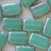 12mm 'Seafoam' Polished Rectangle Beads [20]