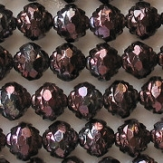 7x8mm Metallic Plum Purple Rosebud Faceted Beads [25]