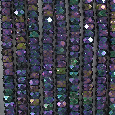 3x6mm Purple Iris Faceted Rondelle Beads [50]
