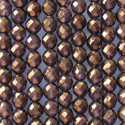 10mm Bronze/Purple Faceted Round Beads [20]
