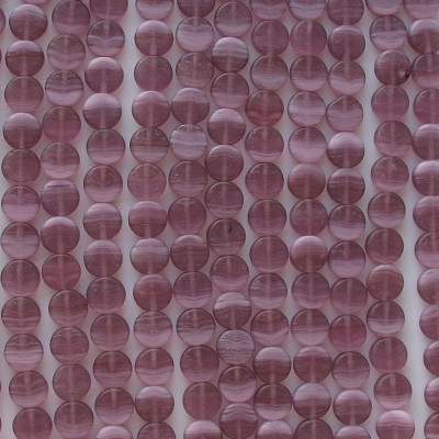 8mm Amethyst Swirl Matte Coin Beads [50] (see Comments)