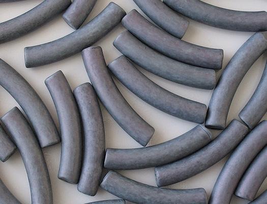 42mm Blue Ceramic Macaroni Beads [8]