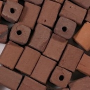 9mm Brown Rectangular Clay Beads [25]