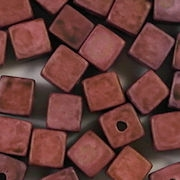 6mm Dark Red Matte Ceramic Cube Beads [50]