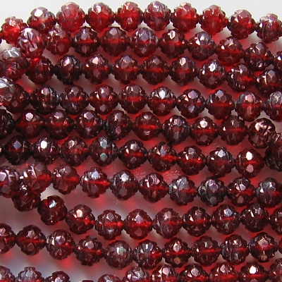 7x8mm Red Luster Rosebud Faceted Beads [25]