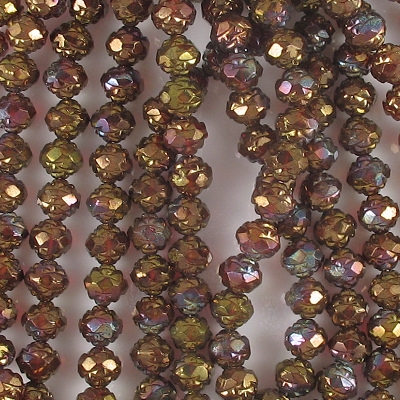 7x8mm Ruby/Bronze Rosebud Faceted Beads [25] (see Comments)