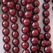 6mm Burgundy Red Round Glass Pearls [75] (see Comments)
