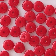 2x6mm Opaque Red Rondelle Beads [100]