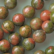 8mm Unakite Beads (48-49) (see Defects)