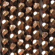 4mm Bronze Faceted Glass Beads [100]