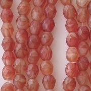 4mm Red Swirl Faceted Matte Beads [100]