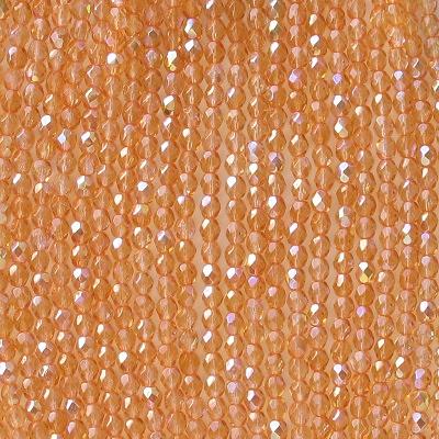 4mm Orange AB Faceted Round Beads [100]