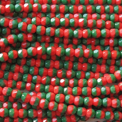 4mm Red/Green Faceted Round Beads [100]