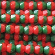 4mm Red/Green Faceted Beads [100]