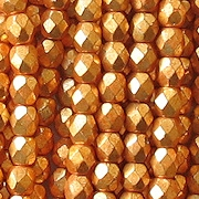 4mm Deep Gold Faceted Glass Beads [100]