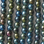 4mm Dark Green Iris Round Beads [100] (see Comments)