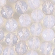 10mm White Opalescent Faceted Round Beads [20]