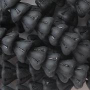 6x8mm Black Matte Bell Flower Beads [50]