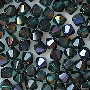 4mm Emerald Iris Cut-Crystal Bicone Beads [50]