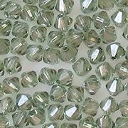 4mm Light Prairie Green Luster Cut-Crystal Bicone Beads [50]