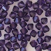 4mm Tanzanite Cut-Crystal Bicone Beads [50]