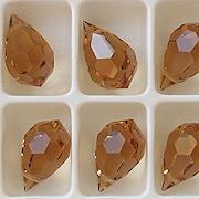 15mm Light Colorado Brown Cut-Crystal Teardrop Beads [5]