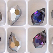 15mm Bermuda Blue/Silver Cut-Crystal Teardrop Beads [5]