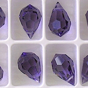 15mm Tanzanite Purple Cut-Crystal Teardrop Beads [5] (see Comments)