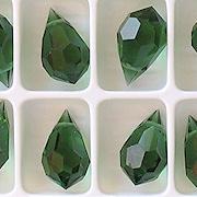 15mm Turmaline Green Cut-Crystal Teardrop Beads [5]