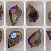 15mm Clear/Brown Iris Cut-Crystal Teardrop Beads [5]