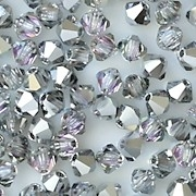 4mm Silver Vitrail Cut-Crystal Bicone Beads [50]