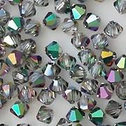 4mm Green Vitrail Cut-Crystal Bicone Beads [50]