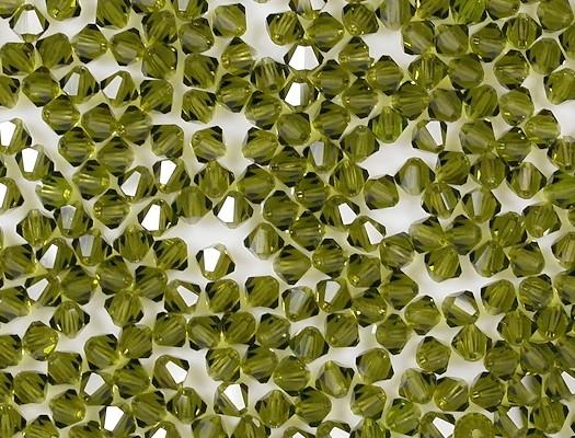 4mm Dark Olive Green Cut-Crystal Bicone Beads [50]