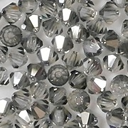 4mm Gray Cut-Crystal Bicone Beads [50]