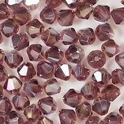 4mm Plum Purple AB Cut-Crystal Bicone Beads [100]