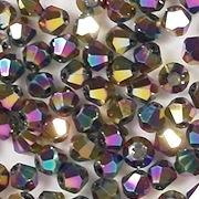 4mm Multicolored Metallic Cut-Crystal Bicone Beads [100]