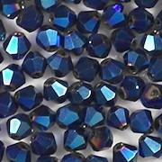 4mm Dark Blue Metallic Cut-Crystal Bicone Beads [100]