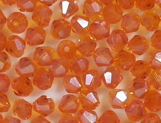 4mm Bright Orange AB Bicone Cut-Crystal Beads [100]