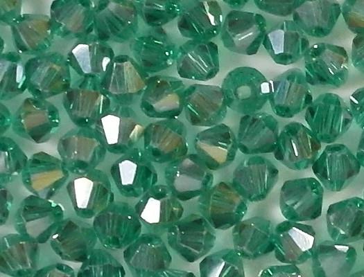 4mm Teal AB Cut-Crystal Bicone Beads [100]