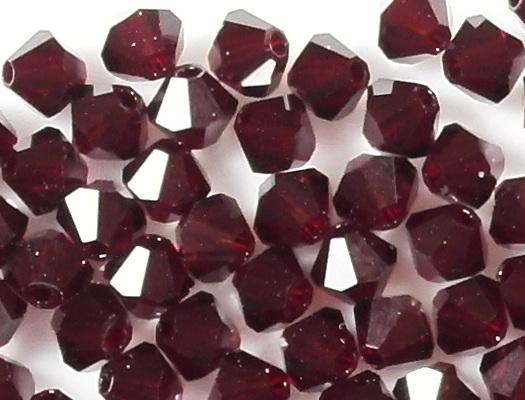 4mm Garnet Red Cut-Crystal Bicone Beads [50]