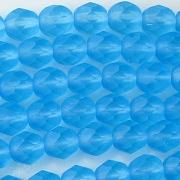 6mm Aqua Matte Faceted Round Beads [50]