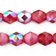 6mm Cranberry/Pearl AB Faceted Round Beads [50]
